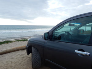 San Onofre State Beach Parking lot truck view
