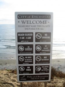 City of Encinitas Beach Sign