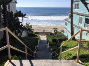 Carlsbad City Beach stairway down beach