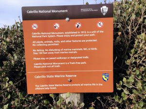Cabrillo state marine reserve rules and regulation sign