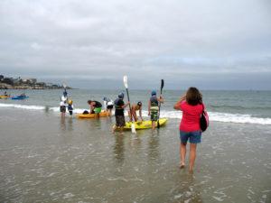 Kayaking la jolla entering water small wave