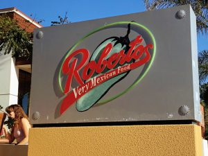 Robertos Very Mexican Food Restaurant Sign