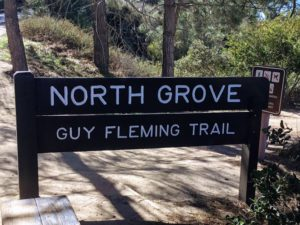 North Grove Guy Fleming Trail Entrance Sign