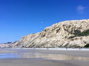 Black's beach North sandy beach bluffs hang gliders