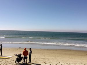 Tourmaline Surfing Park Beach sandy shore two people stroller