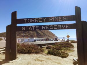 Torrey Pines State Beach Sign South Parking lot