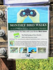 Poster for Monthly Bird Walks