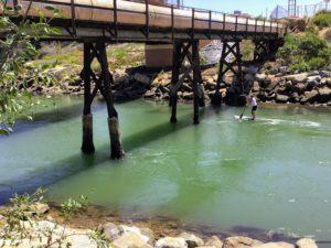 Paddle boarder under small bridge