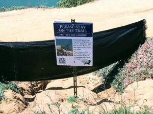 Lagoon information sign black plastic solarization sheet