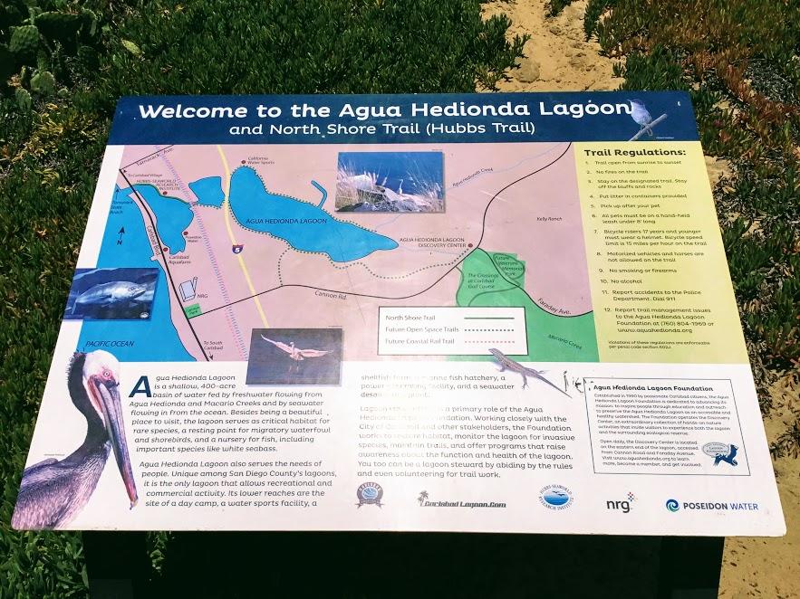 Agua Hedionda Lagoon welcome/trail sign