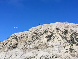 Paraglider Blacks Beach sandstone cliffs
