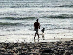 Man dog beach san onofre state beach