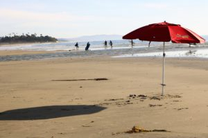North Cardiff State Beach red umbrella sandy shoe people water
