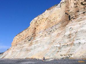 Torrey-Pines-Sandstone Bluffs woman sitting in front of bluffs