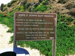 Scripps bluff sign James G Scripps Bluff Reserve