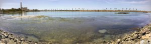 Agua Hedionda Lagoon down NE water view panoramic