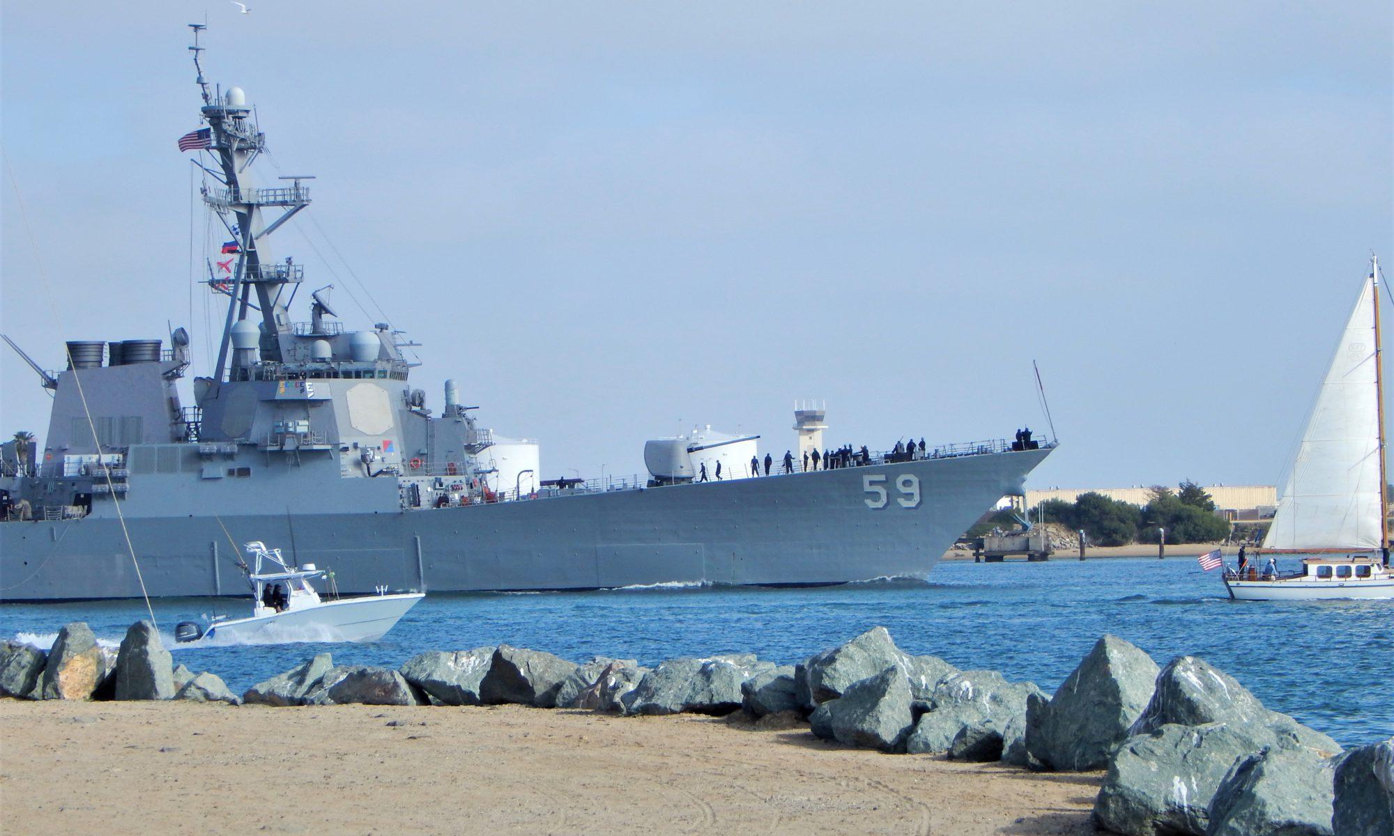 San Diego Bay Naval Ship Leaving