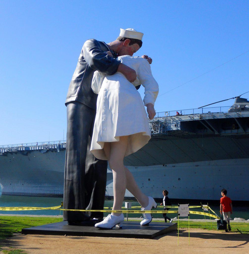 Embracing peace statue Tuna Harbor Park