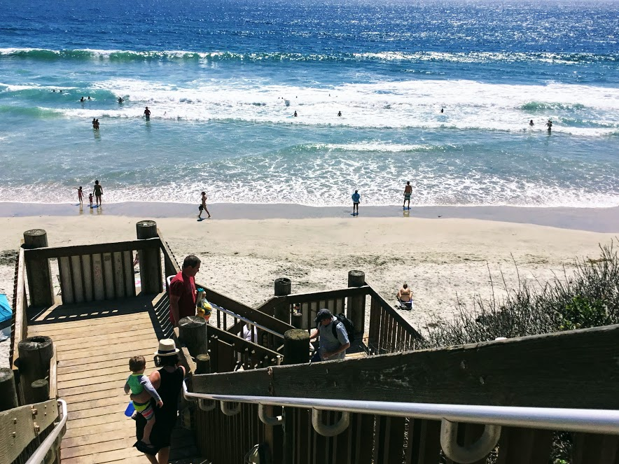 D street beach access staircase sand waves