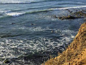 Surfing garbage beach Point Loma bluffs ocean