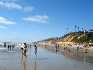 North View Moonlight Beach bluffs sand beach