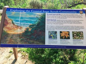 coastal sage scrub information sign bluffs campground