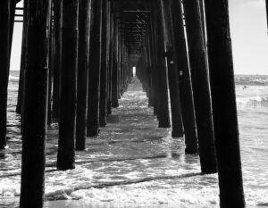 oceanside pier black and white august san diego summer
