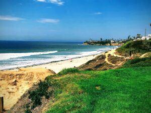 pacific beach sept 4 grass bluff ocean sand