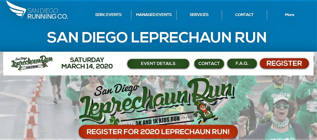 San Diego Leprechaun Run Homepage