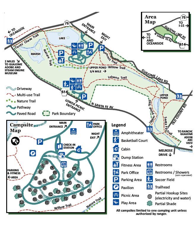 Guajome regional park campground map