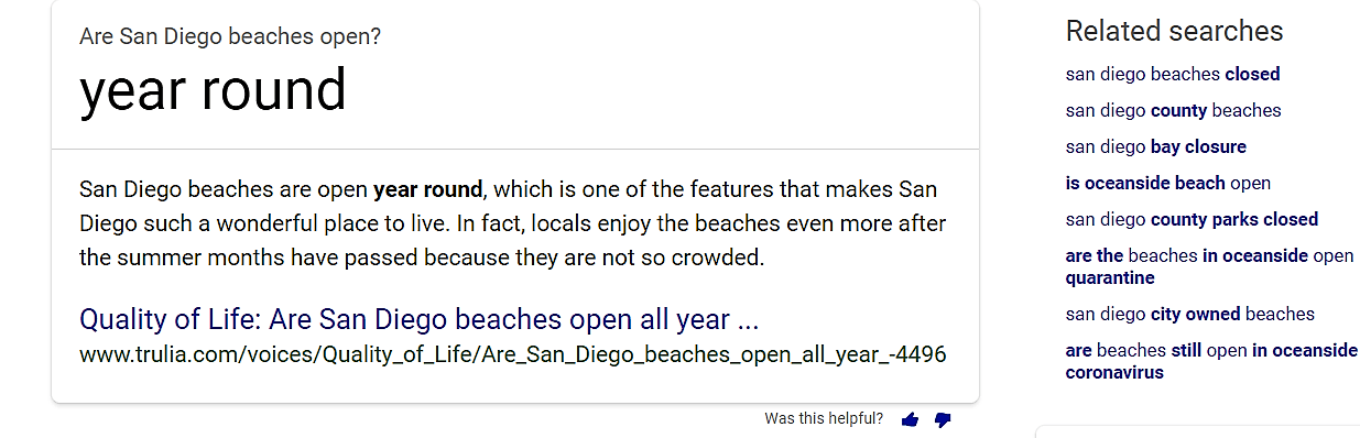 San Diego Beaches Open question search engine