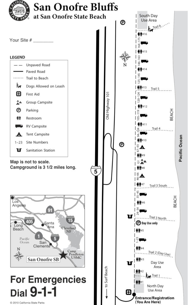 San Onofre State Beach Bluffs Campground Map Trails