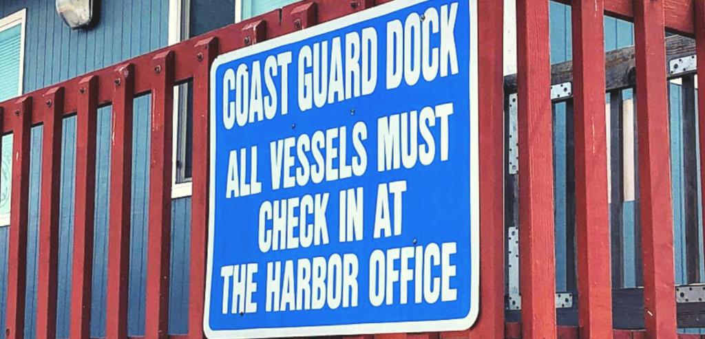 Coast Guard dock sign oceanside harbor