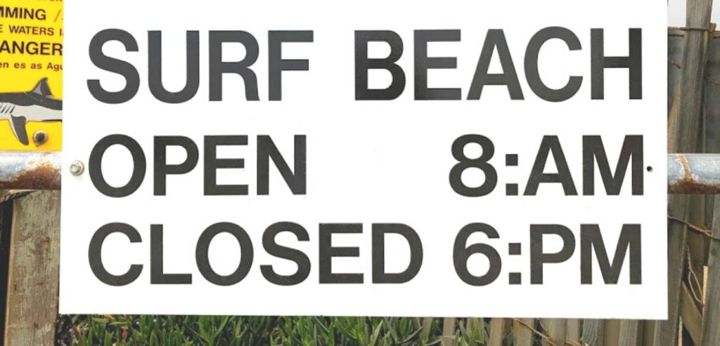 hours sign surf beach santa barbara county
