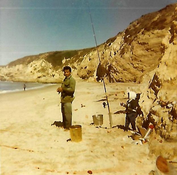 Surf Beach 1971 man little boy shore fishing
