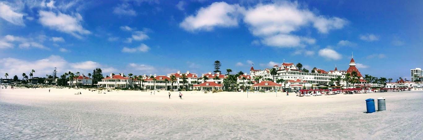 Hotel del Coronado Panoramic sandy beach blue sky