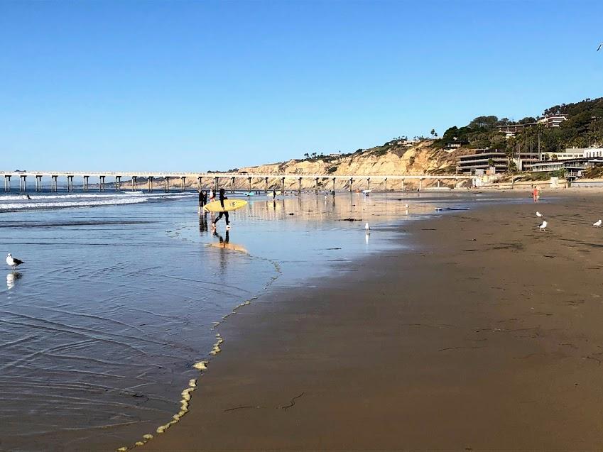 la jolla shores beach two surfers sand