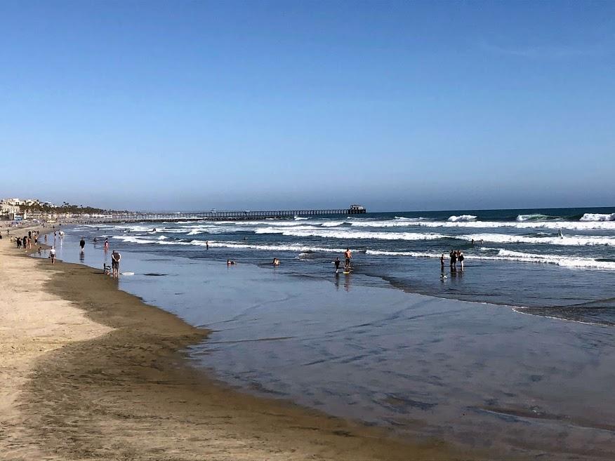 oceanside pier sand ocean waves